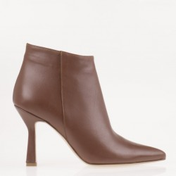 Brown medium heel ankle boots