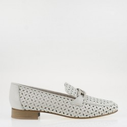 Beige napa perforated leather loafer