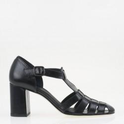T strap black napa shoe