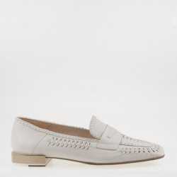 White braided napa loafer