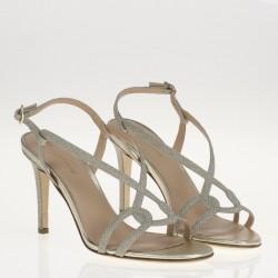 Sandalo platino con tacco sottile