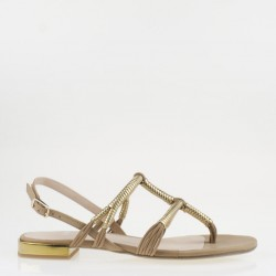 Braided straps gold and tan thong sandal