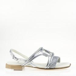 Braided straps silver flat sandal
