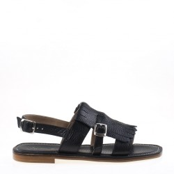 Fringed black flat sandal
