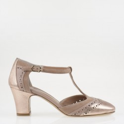 Copper squared toe T strap pumps