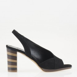 Open toe black slingback