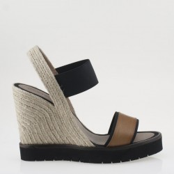 Espadrilla wedge in brown and black