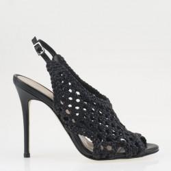 Sandalo intrecciato nero