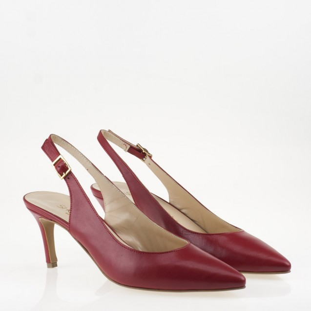 Pointy toe red leather slingback