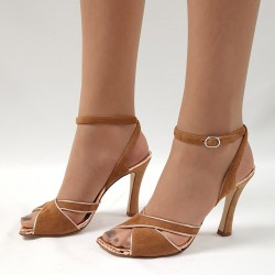 Tan suede heeled sandal