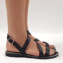 Sparkling black flat sandal
