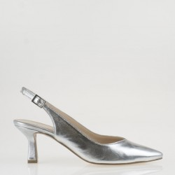 Pointy toe silver leather slingback