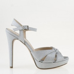 Shimmering silver sandal with high heel