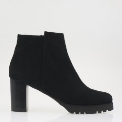 Platform black ankle boot