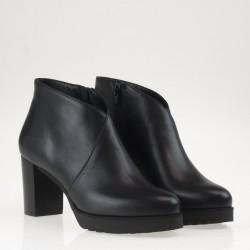 Platform black leather ankle boot
