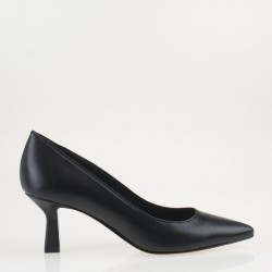 Black napa medium heel pump