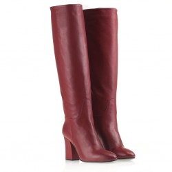 Calf leather tubular red boots