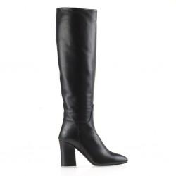 Calf leather tubular black boots