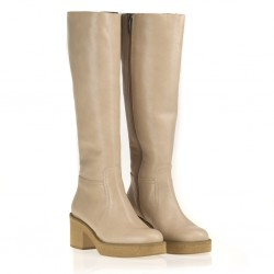 Beige leather boot
