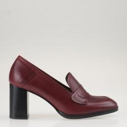 Red heeled loafer