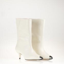 Calf leather tubular white boots