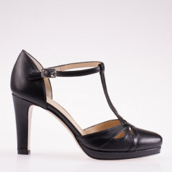Black leather T strap pump