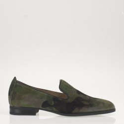Camouflage suede loafer