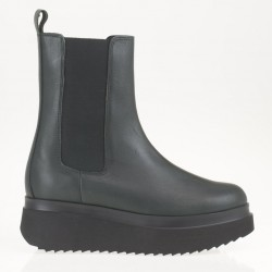 Wedge green leather boots