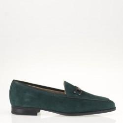 Green suede horsebit loafer