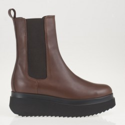 Wedge brown leather boots