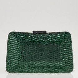 Green satin and crystals clutch