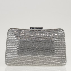 Silver satin and crystals clutch