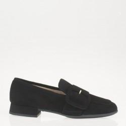 Black suede buckle loafer