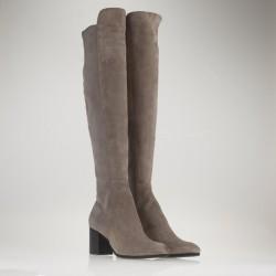 Medium heel over the knee taupe suede boot