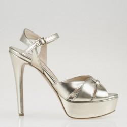 Metallic leather golden sandal with high heel