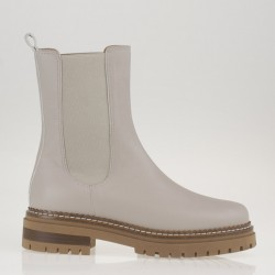 Ivory leather biker boots