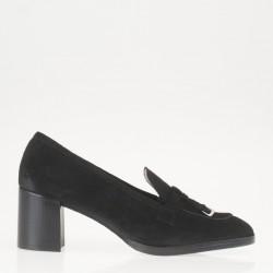 Black heeled loafer