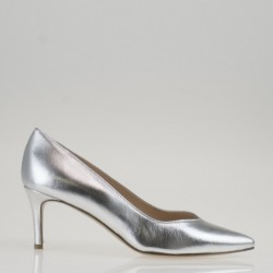Silver napa medium heel pump