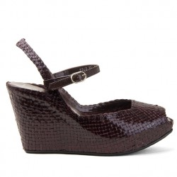 Fatima wedge in woven brown leather