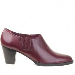Burgundy leather bootie