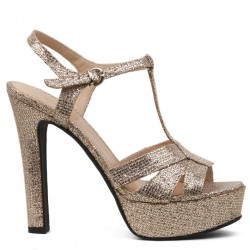 Gold glitter high heel sandal
