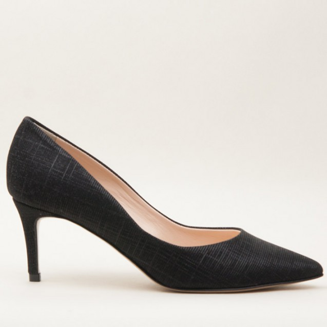 Black iridescent fabric pump