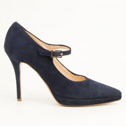 Blue suede pointy toe Mary Jane Pumps