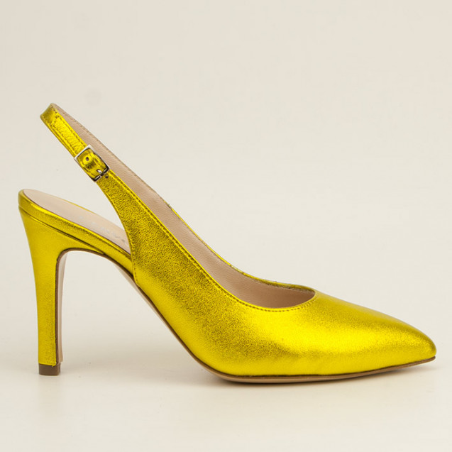 Yellow metallic leather slingback
