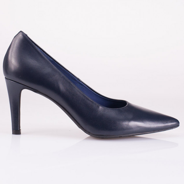 Pointy toe blue leather pump