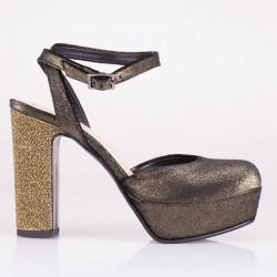 Metal velvet sandal