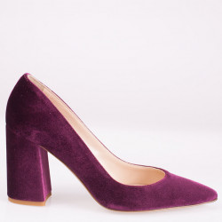 Burgundy velvet poity toe pump