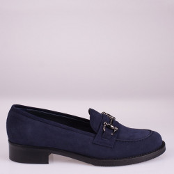 Blue suede horsebit loafer