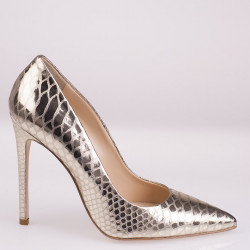 Grey iridescent fabric pump