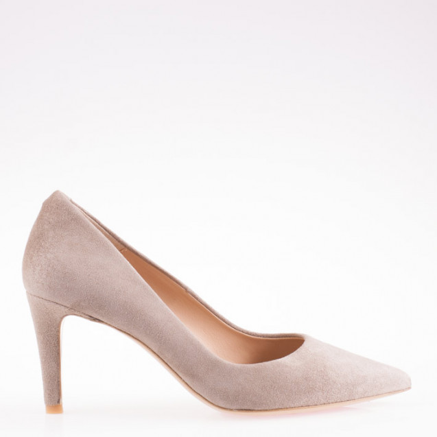 Pointy toe stone suede pump